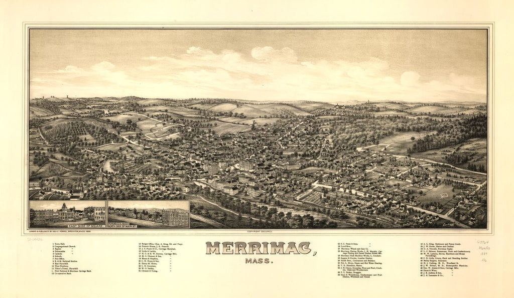 8 x 12 Reproduced Photo of Vintage Old Perspective Birds Eye View Map or Drawing of: Merrimac, Mass.   Norris, George E.  1889