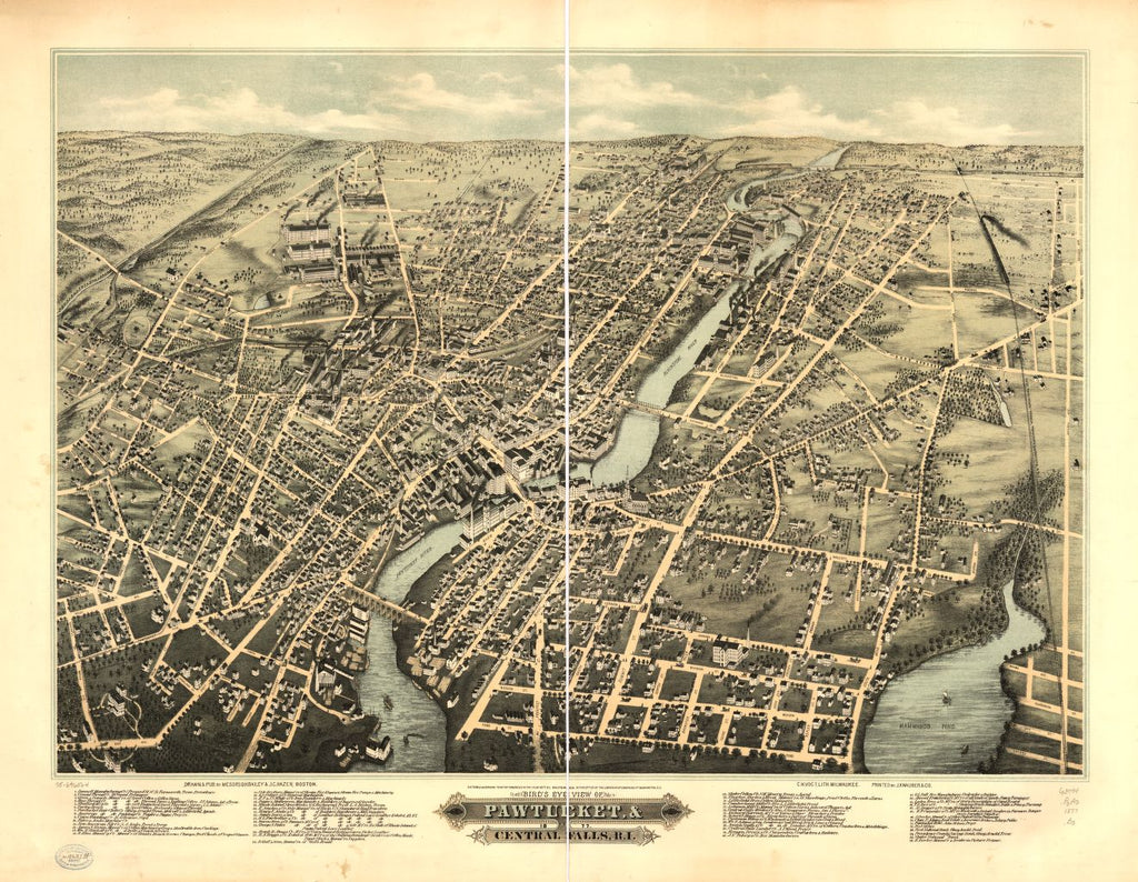 8 x 12 Reproduced Photo of Vintage Old Perspective Birds Eye View Map or Drawing of: Pawtucket & Central Falls, R.I. 1877.  Bailey, O. H. (Oakley Hoopes) - Hazen, J. C. - C.H. Vogt (Firm) - J. Knauber & Co. - Bailey, O. H. 1877