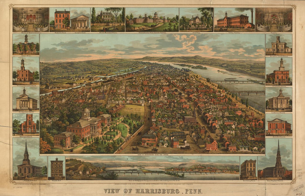 8 x 12 Reproduced Photo of Vintage Old Perspective Birds Eye View Map or Drawing of: Harrisburg, Penn. Williams, J. Thomas - E. Sachse & Co. 1855