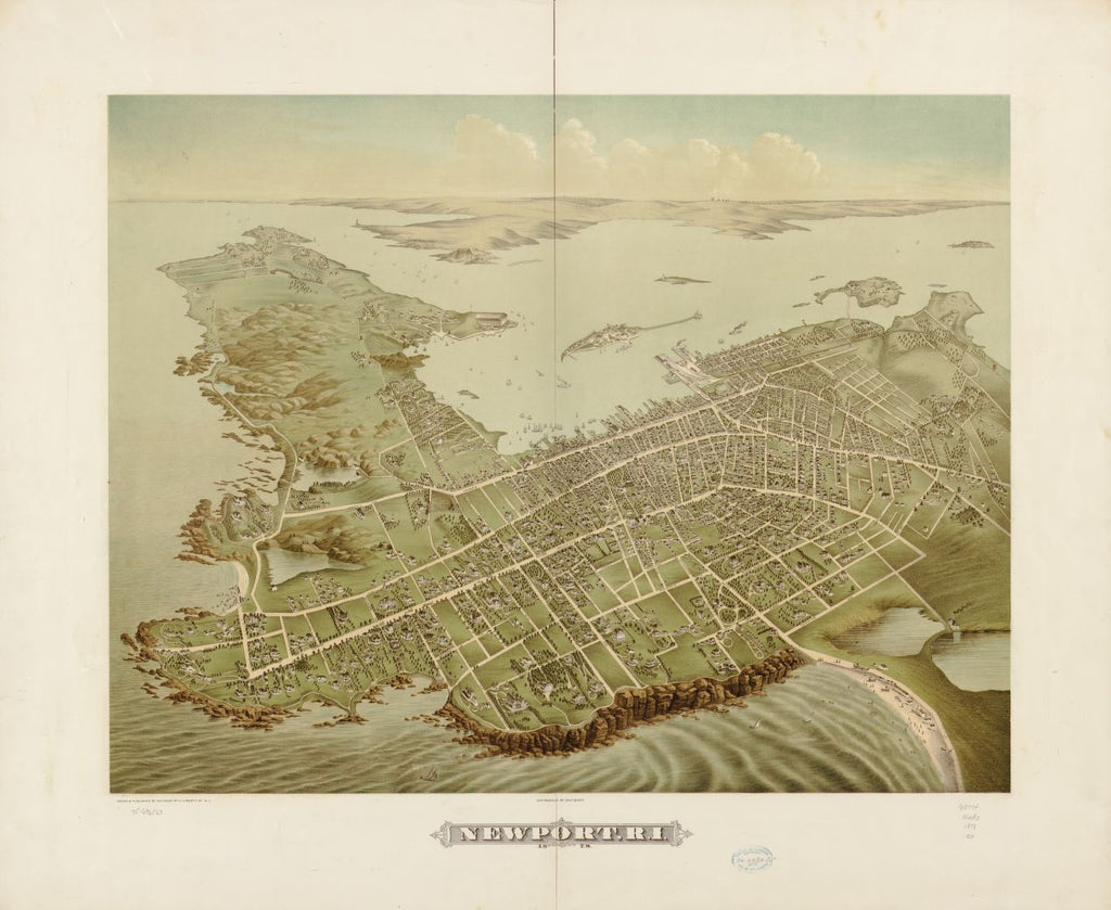 8 x 12 Reproduced Photo of Vintage Old Perspective Birds Eye View Map or Drawing of: Newport, R.I. 1878.  Galt & Hoy  1878