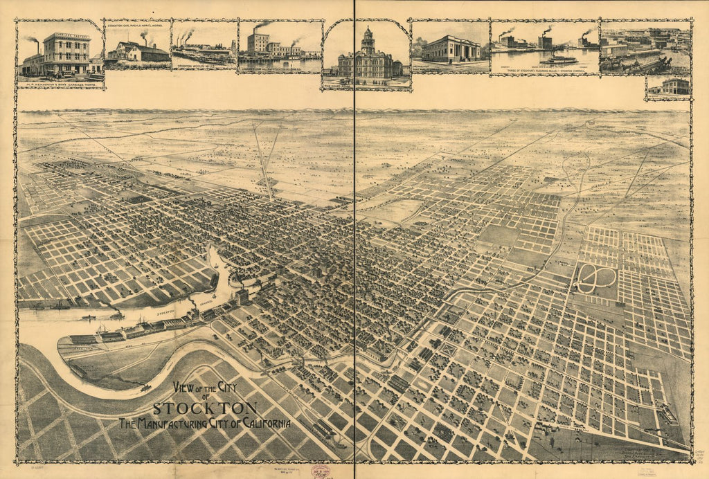 8 x 12 Reproduced Photo of Vintage Old Perspective Birds Eye View Map or Drawing of: Stockton, the Manufacturing California. Dakin Publishing Co. c1895