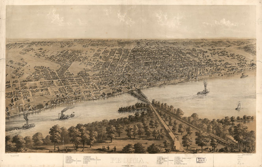 8 x 12 Reproduced Photo of Vintage Old Perspective Birds Eye View Map or Drawing of: Peoria, Illinois 1867. Ruger, A. 1867
