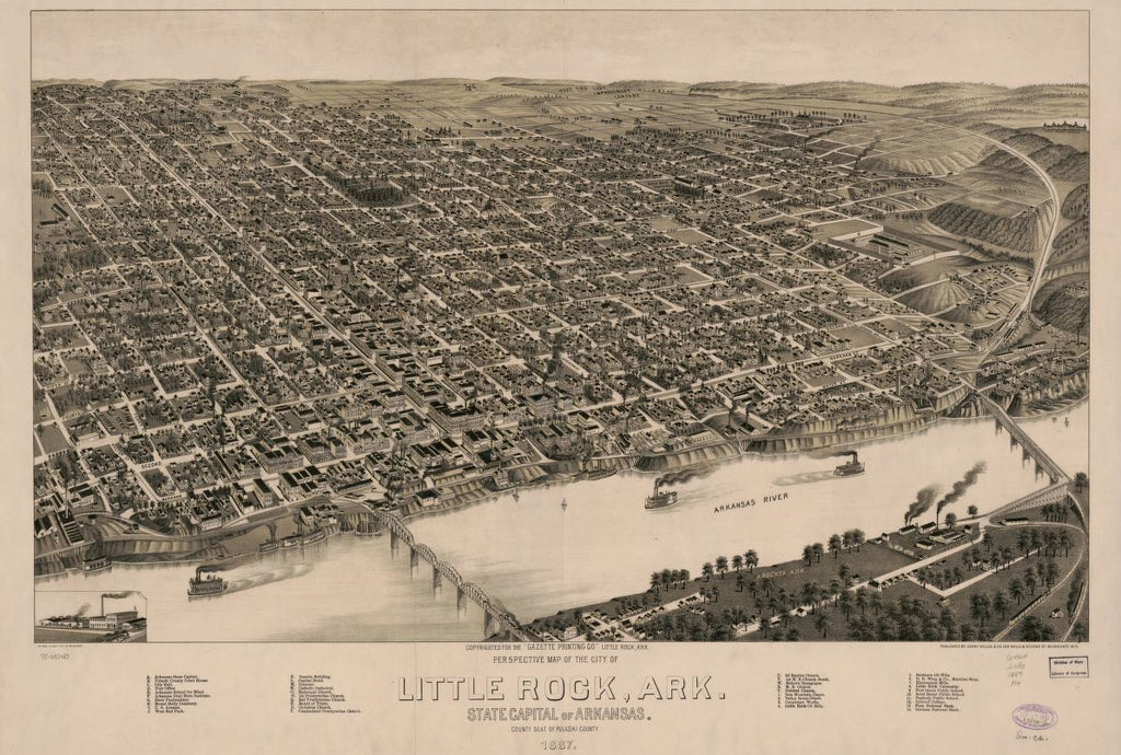 8 x 12 Reproduced Photo of Vintage Old Perspective Birds Eye View Map or Drawing of: Little Rock, Ark., State capital of Arkansas, county seat of Pulaski County. 1887. Henry Wellge & Co.Beck & Pauli. 1887