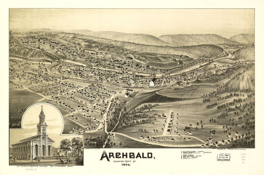 8 x 12 Reproduced Photo of Vintage Old Perspective Birds Eye View Map or Drawing of: Archbald, Lackawanna County, Pa. 1892. Fowler, T. M. - Downs, A. E. (Albert E.) - Moyer, James - Fowler, T. M. 1892