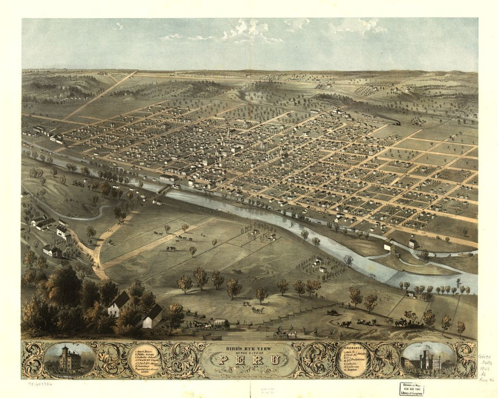 8 x 12 Reproduced Photo of Vintage Old Perspective Birds Eye View Map or Drawing of: Peru, Miami Co., Indiana 1868. Ruger, A. 1869