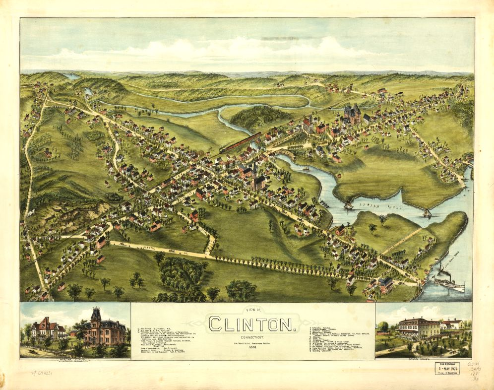 8 x 12 Reproduced Photo of Vintage Old Perspective Birds Eye View Map or Drawing of: Clinton, Connecticut 1881.   O.H. Bailey & Co.  1881