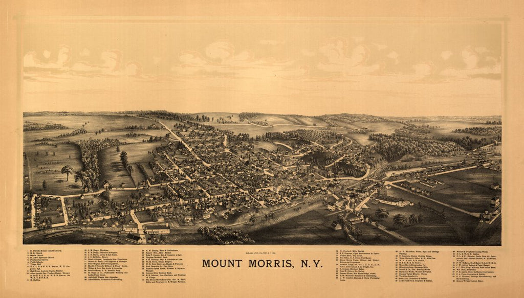 8 x 12 Reproduced Photo of Vintage Old Perspective Birds Eye View Map or Drawing of: Mount Morris, N.Y. Burleigh Litho 1893