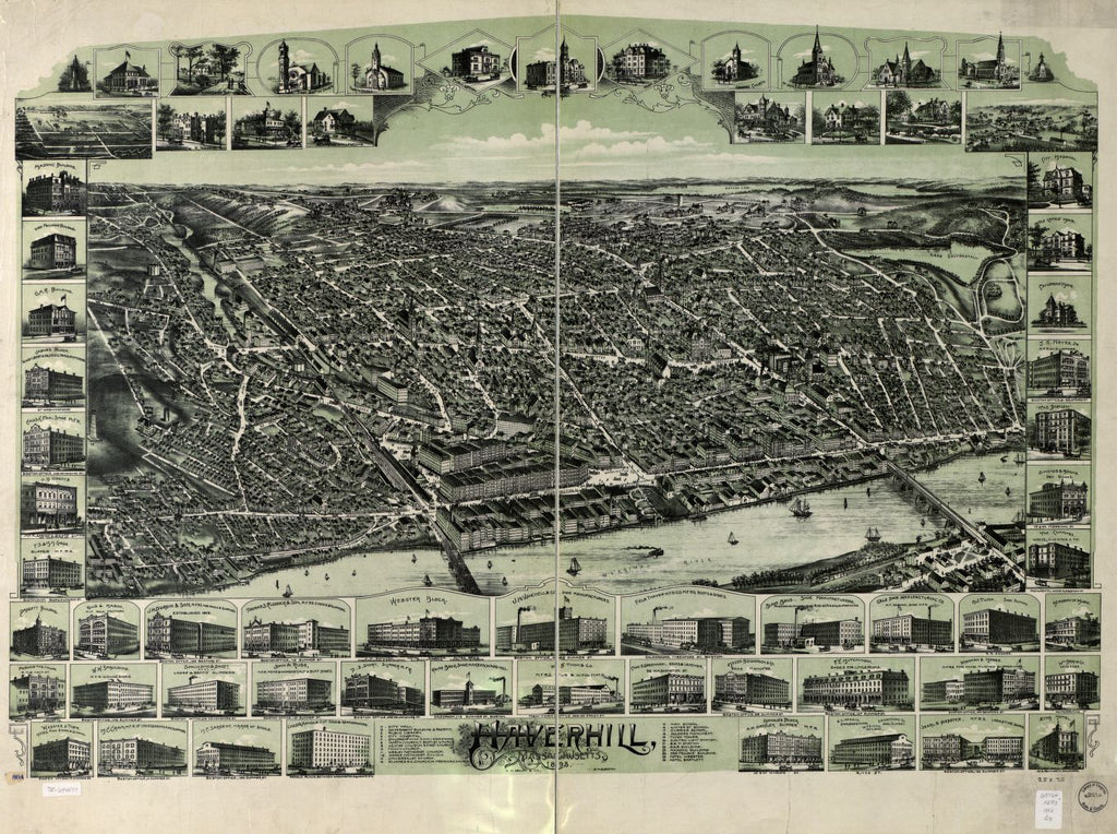 8 x 12 Reproduced Photo of Vintage Old Perspective Birds Eye View Map or Drawing of: Haverhill, Massachusetts.  O.H. Bailey & Co.  1893