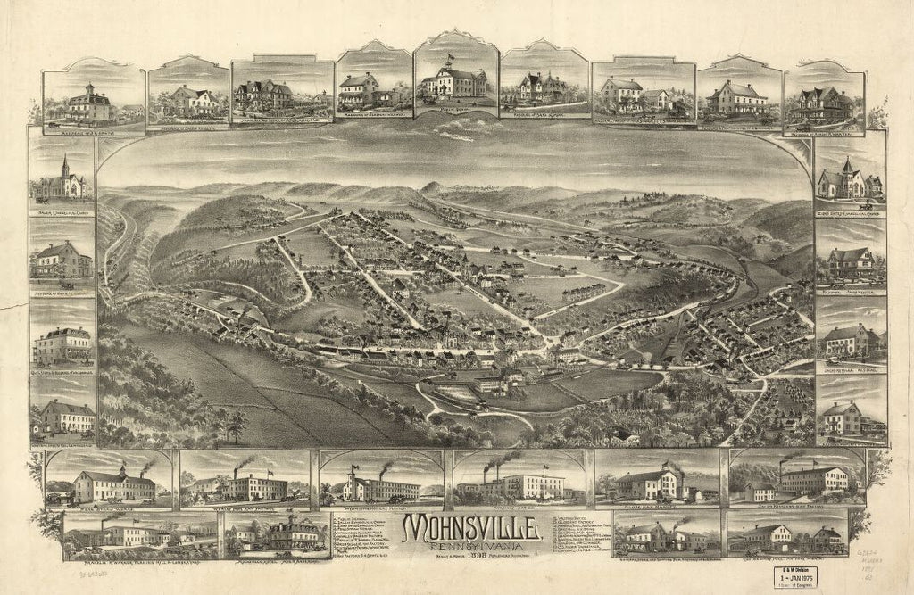 8 x 12 Reproduced Photo of Vintage Old Perspective Birds Eye View Map or Drawing of: Mohnsville, Pennsylvania 1898. Bailey & Moyer 1898
