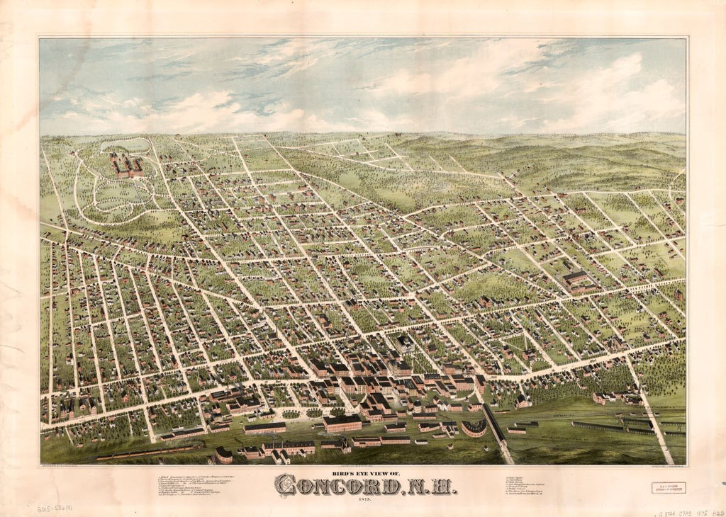 8 x 12 Reproduced Photo of Vintage Old Perspective Birds Eye View Map or Drawing of: Concord, N.H. : 1875  H.H. Bailey & Co. - J. Knauber & Co.  1875