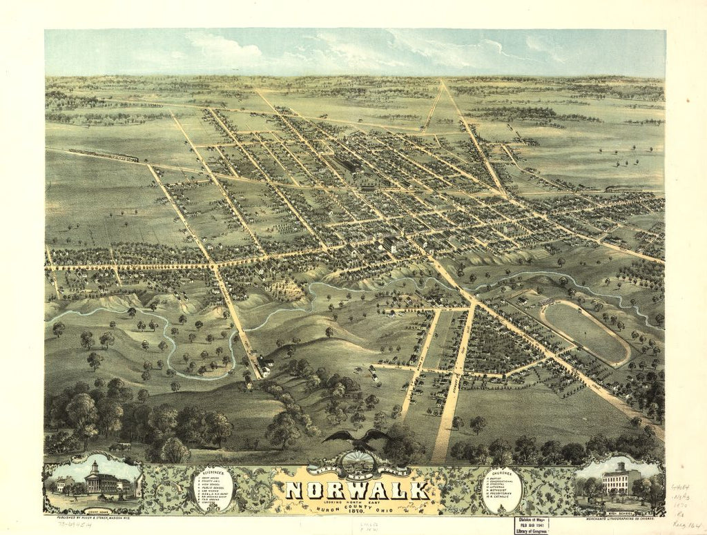 8 x 12 Reproduced Photo of Vintage Old Perspective Birds Eye View Map or Drawing of: Norwalk, Huron County, Ohio 1870. Ruger, A. 1870