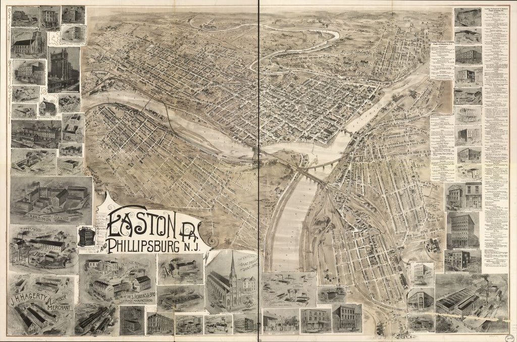 8 x 12 Reproduced Photo of Vintage Old Perspective Birds Eye View Map or Drawing of: Easton, Pa. and Phillipsburg, N.J. Landis & Alsop 1900