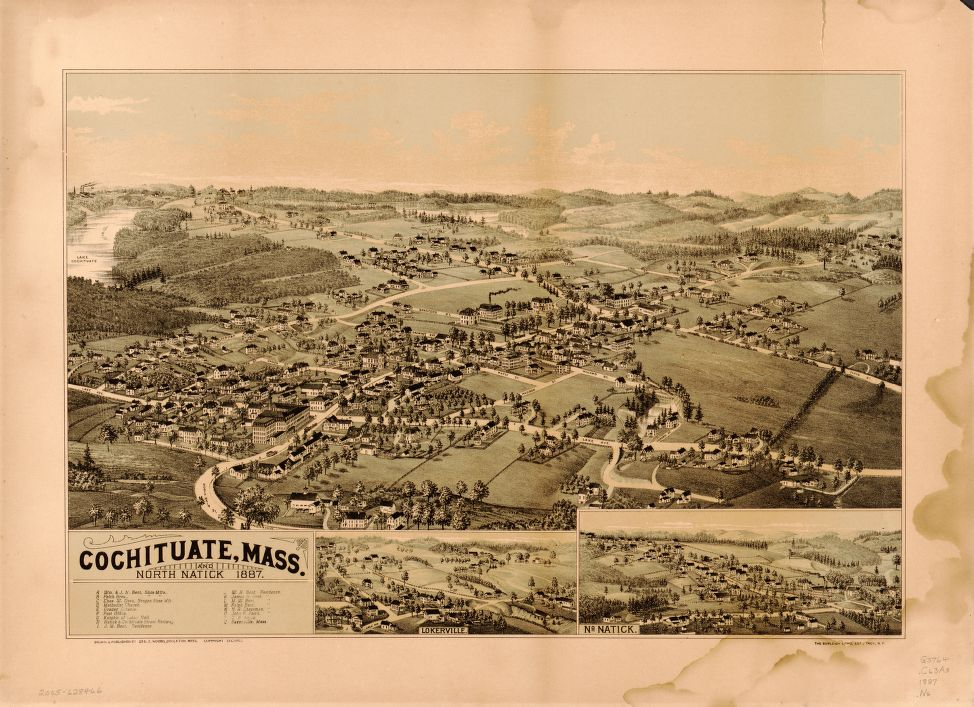 8 x 12 Reproduced Photo of Vintage Old Perspective Birds Eye View Map or Drawing of: Cochituate, Mass. and North Natick, 1887  Norris, George E. - Burleigh Litho  1887