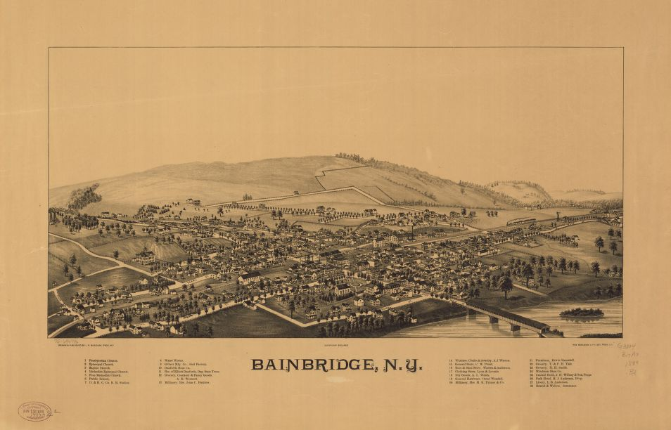 8 x 12 Reproduced Photo of Vintage Old Perspective Birds Eye View Map or Drawing of: Bainbridge, N.Y.   Burleigh, L. R. (Lucien R.) - Burleigh Litho - Burleigh, L. R.  1889