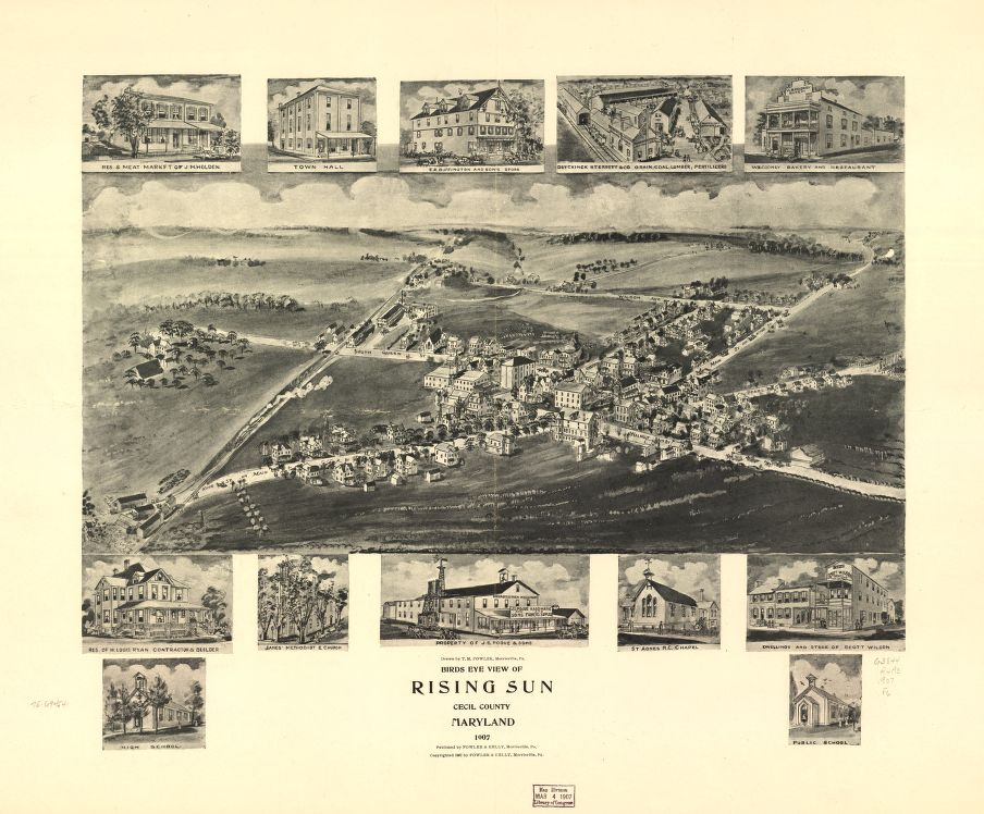8 x 12 Reproduced Photo of Vintage Old Perspective Birds Eye View Map or Drawing of: Rising Sun, Cecil County, Maryland 1907.  Fowler, T. M. - Fowler & Kelly - Fowler, T. M. 1907