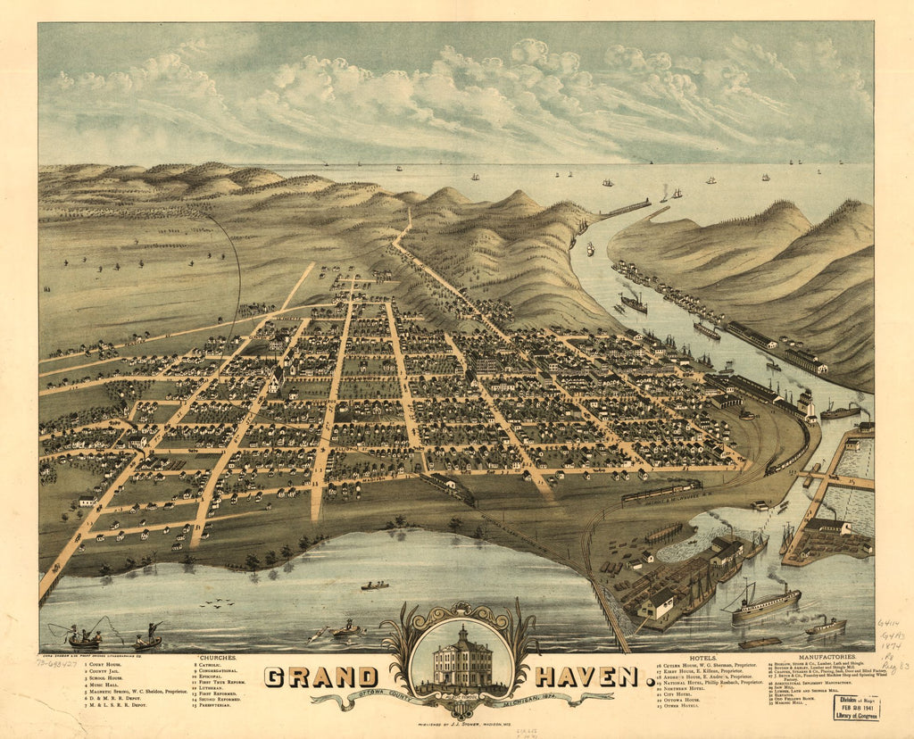 8 x 12 Reproduced Photo of Vintage Old Perspective Birds Eye View Map or Drawing of: Grand Haven, Ottawa County, Michigan 1874. Ruger, A. 1874