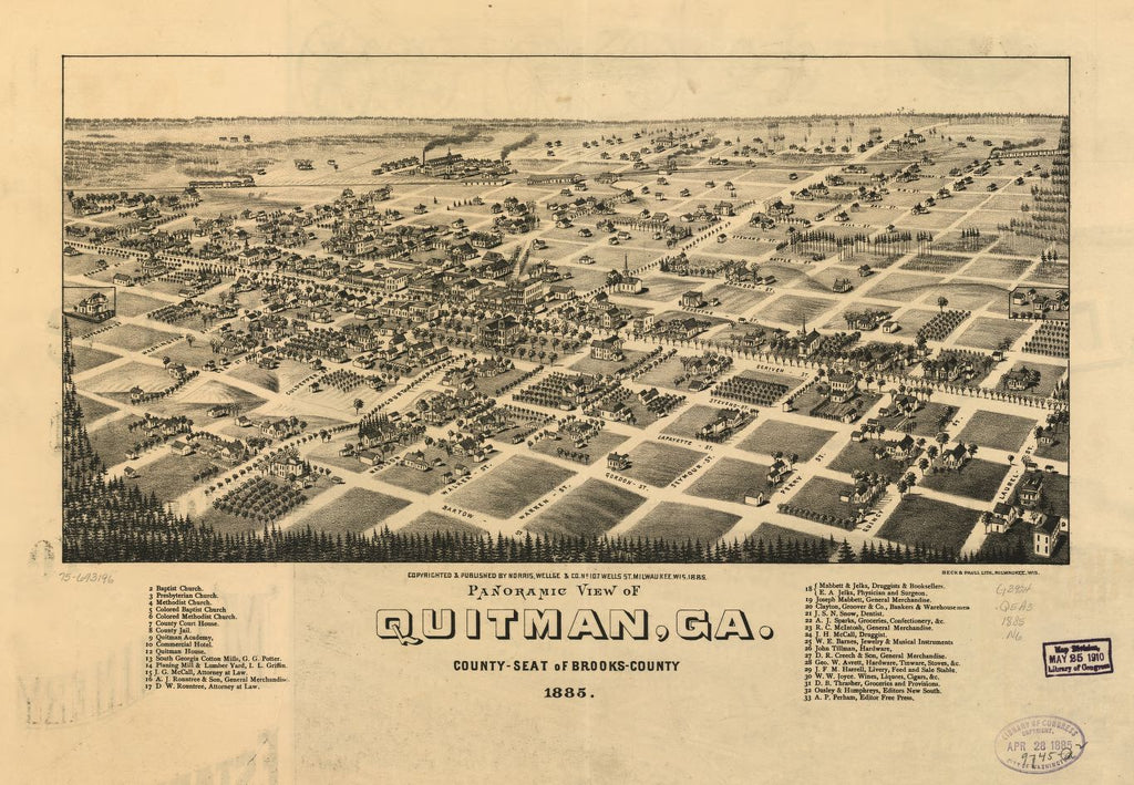 8 x 12 Reproduced Photo of Vintage Old Perspective Birds Eye View Map or Drawing of: Panoramic Quitman, Ga. county-seat of Brooks-County 1885. Norris, Wellge & Co.Beck & Pauli. 1885