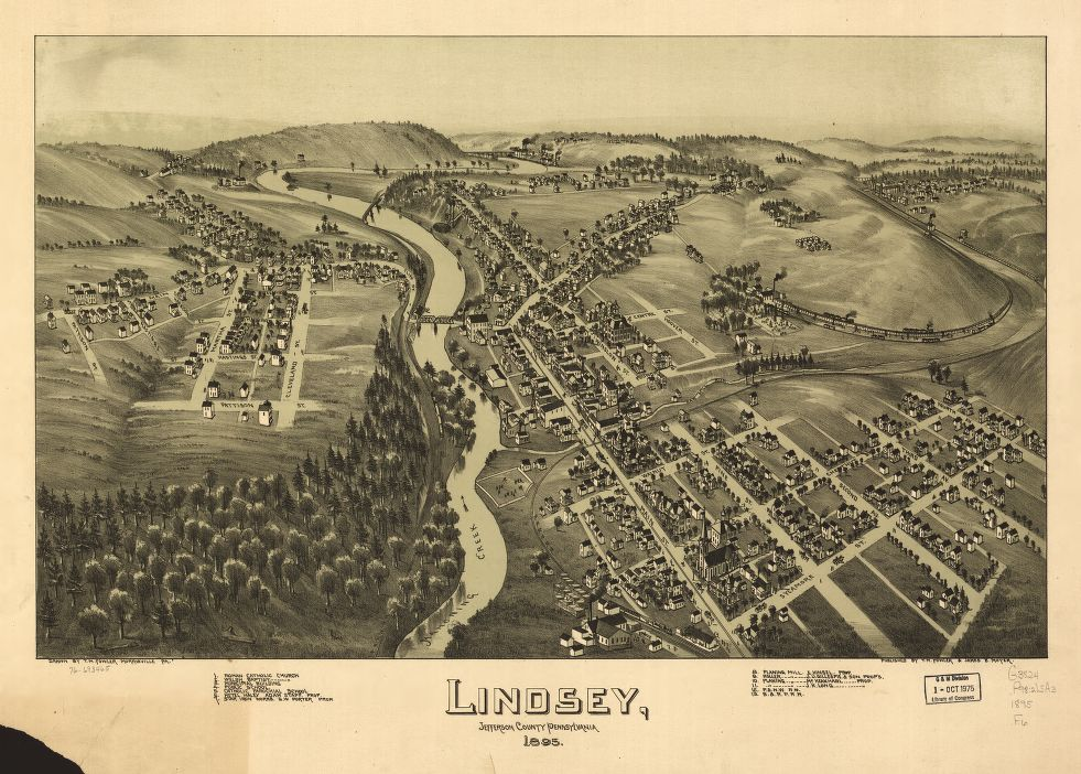 8 x 12 Reproduced Photo of Vintage Old Perspective Birds Eye View Map or Drawing of: Lindsey, Jefferson County, Pennsylvania. Fowler, T. M. - Moyer, James - Fowler, T. M. 1895