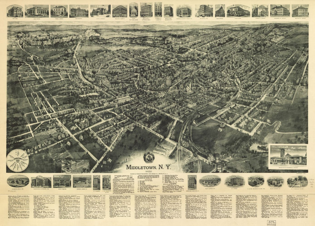 8 x 12 Reproduced Photo of Vintage Old Perspective Birds Eye View Map or Drawing of: Middletown, N.Y. 1922. Hughes & Fowler 1922