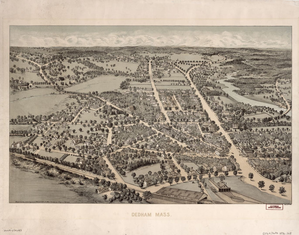 8 x 12 Reproduced Photo of Vintage Old Perspective Birds Eye View Map or Drawing of: Dedham, Mass. in 1876  Whitefield, Edwin - Heliotype Printing Co.  1876