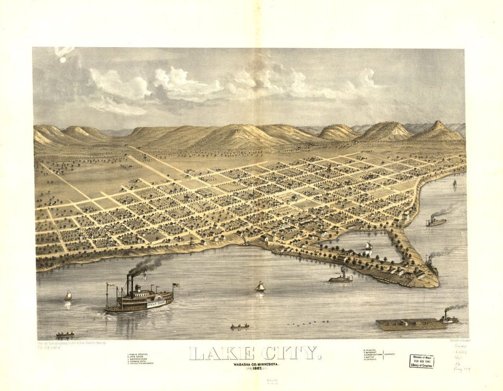 8 x 12 Reproduced Photo of Vintage Old Perspective Birds Eye View Map or Drawing of: Lake City, Wabasha Co., Minnesota 1867. Ruger, A. 1867