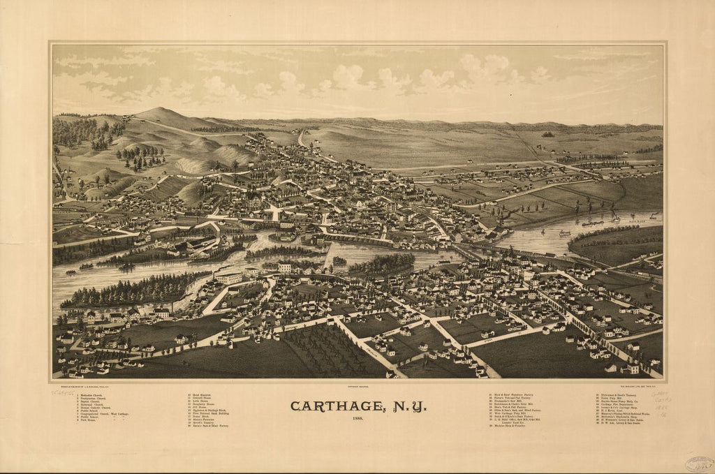8 x 12 Reproduced Photo of Vintage Old Perspective Birds Eye View Map or Drawing of: Carthage, N.Y. 1888.  Burleigh, L. R. (Lucien R.) - Burleigh Litho - Burleigh, L. R.  1888