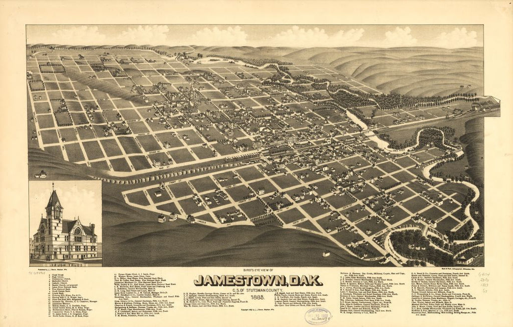8 x 12 Reproduced Photo of Vintage Old Perspective Birds Eye View Map or Drawing of: Jamestown, Dak., c.s. of Stutsman County 1883. Stoner, J. J. c1883