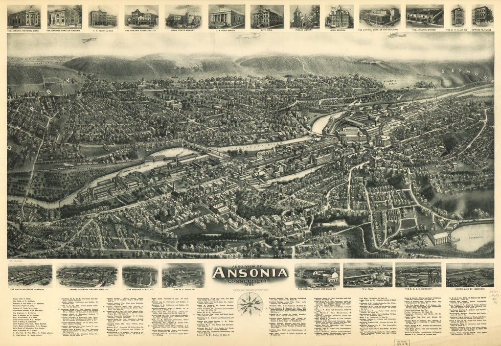 8 x 12 Reproduced Photo of Vintage Old Perspective Birds Eye View Map or Drawing of: Ansonia, Connecticut 1921.  Hughes & Bailey  1921