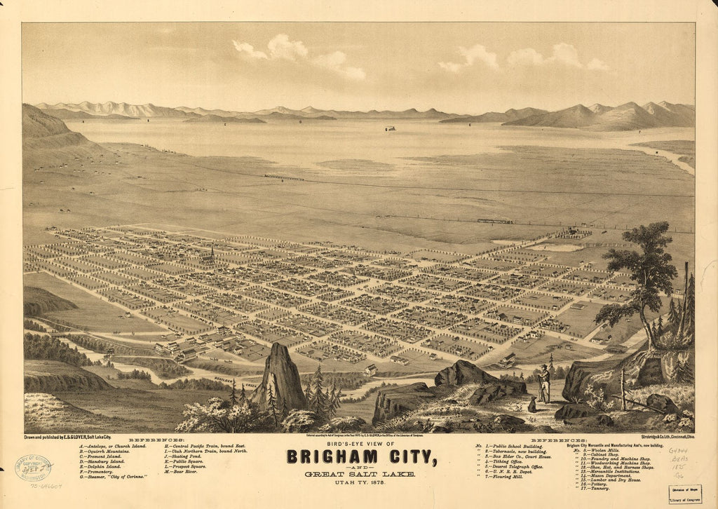 8 x 12 Reproduced Photo of Vintage Old Perspective Birds Eye View Map or Drawing of: Bird's-eye Brigham City and Great Salt Lake, Utah, Ty. 1875. Glover, E. S. (Eli Sheldon) 1875