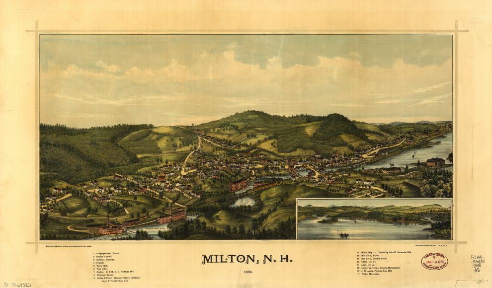 8 x 12 Reproduced Photo of Vintage Old Perspective Birds Eye View Map or Drawing of: Milton, N.H., 1888  Norris, George E. - Burleigh Litho  1888