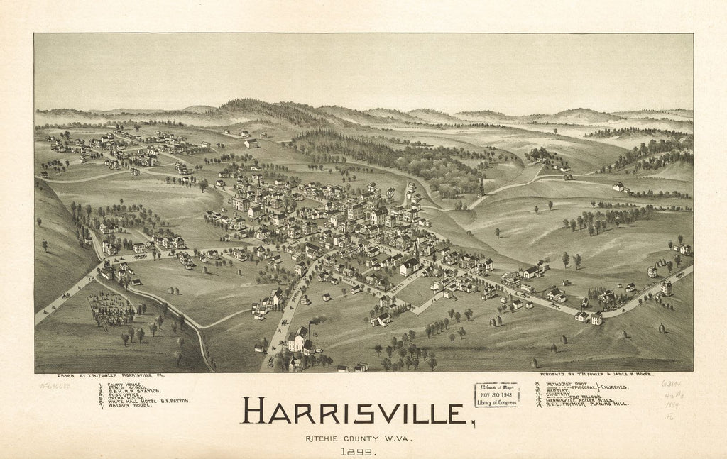 8 x 12 Reproduced Photo of Vintage Old Perspective Birds Eye View Map or Drawing of: Harrisville, Ritchie County, W.Va. 1899. Fowler, T. M. (Thaddeus Mortimer), 1842-1922.Moyer, James B. 1899