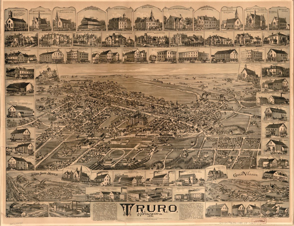 8 x 12 Reproduced Photo of Vintage Old Perspective Birds Eye View Map or Drawing of: Truro, Nova Scotia, 1889  Currie, Duncan D.  1889