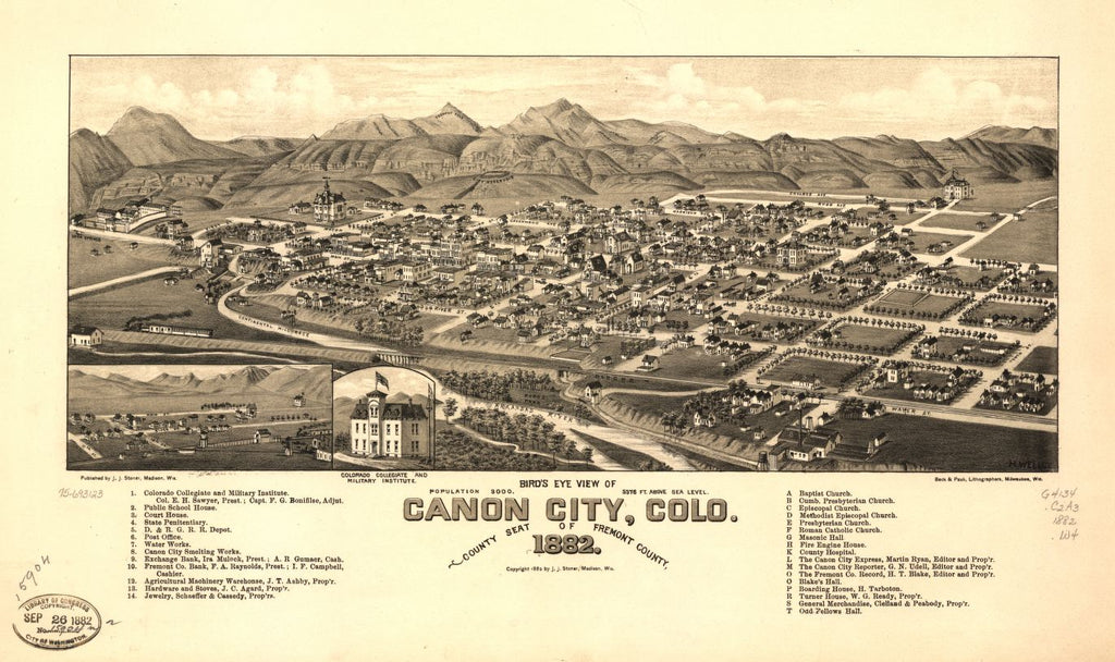 8 x 12 Reproduced Photo of Vintage Old Perspective Birds Eye View Map or Drawing of: Canon City, Colo. county seat of Fremont County 1882. Wellge, H. (Henry) c1882