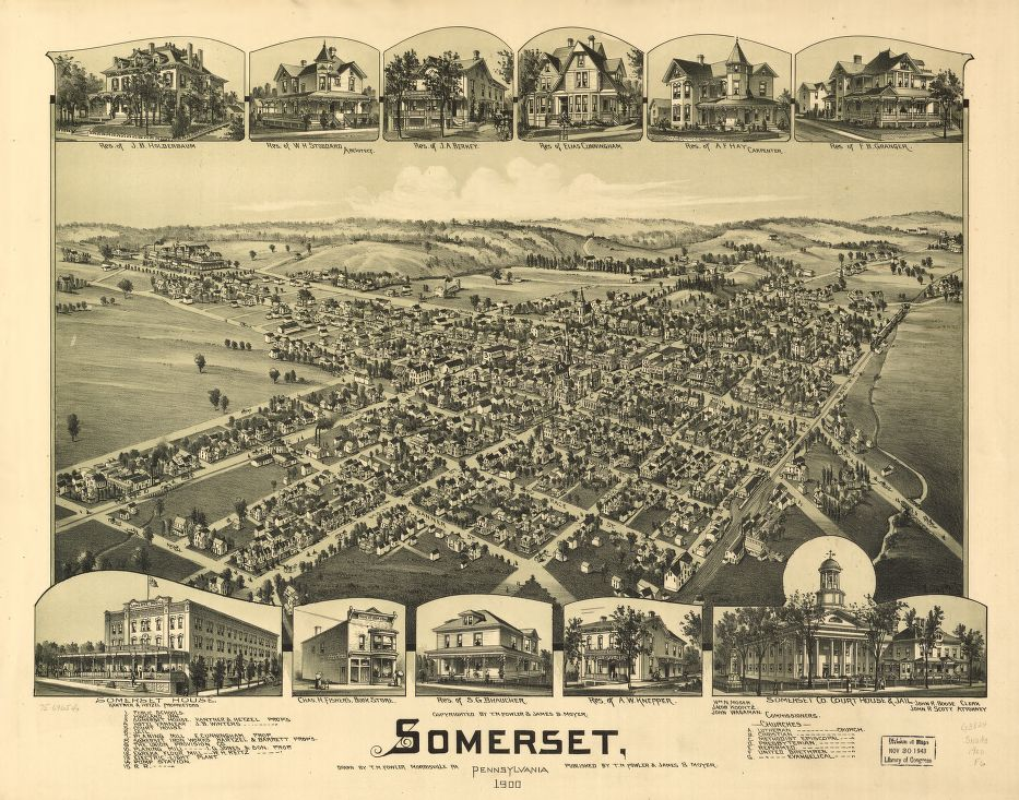 8 x 12 Reproduced Photo of Vintage Old Perspective Birds Eye View Map or Drawing of: Somerset, Pennsylvania 1900.   Fowler, T. M. - Moyer, James - Fowler, T. M.  1900