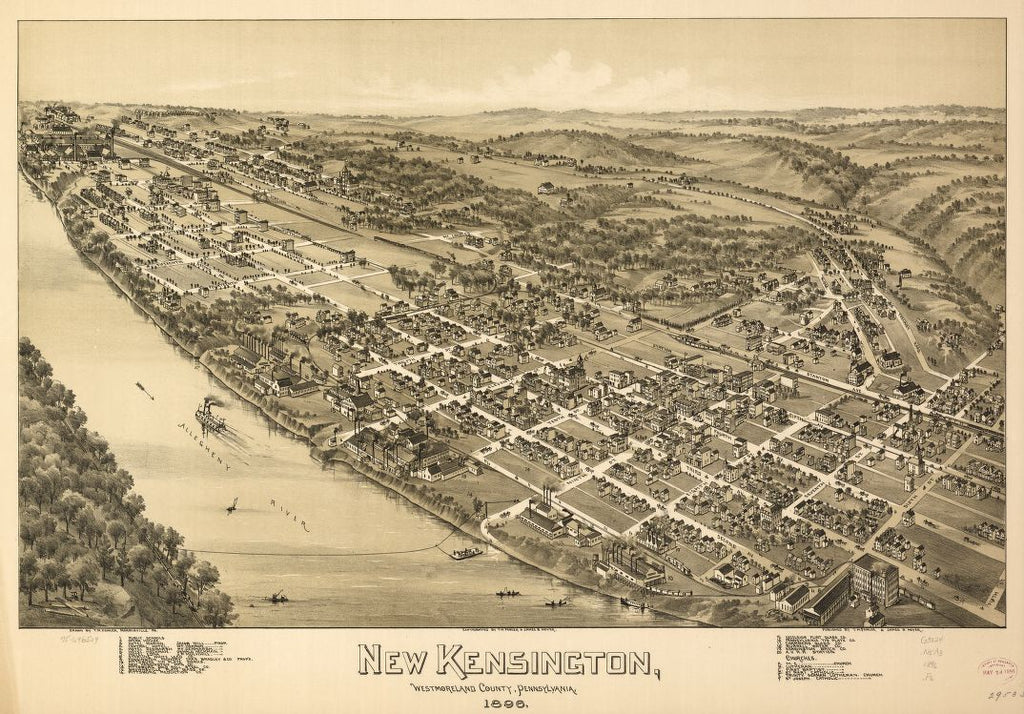 8 x 12 Reproduced Photo of Vintage Old Perspective Birds Eye View Map or Drawing of: New Kensington, Westmoreland County, Pennsylvania, 1896. Fowler, T. M. - Moyer, James - Fowler, T. M. 1896