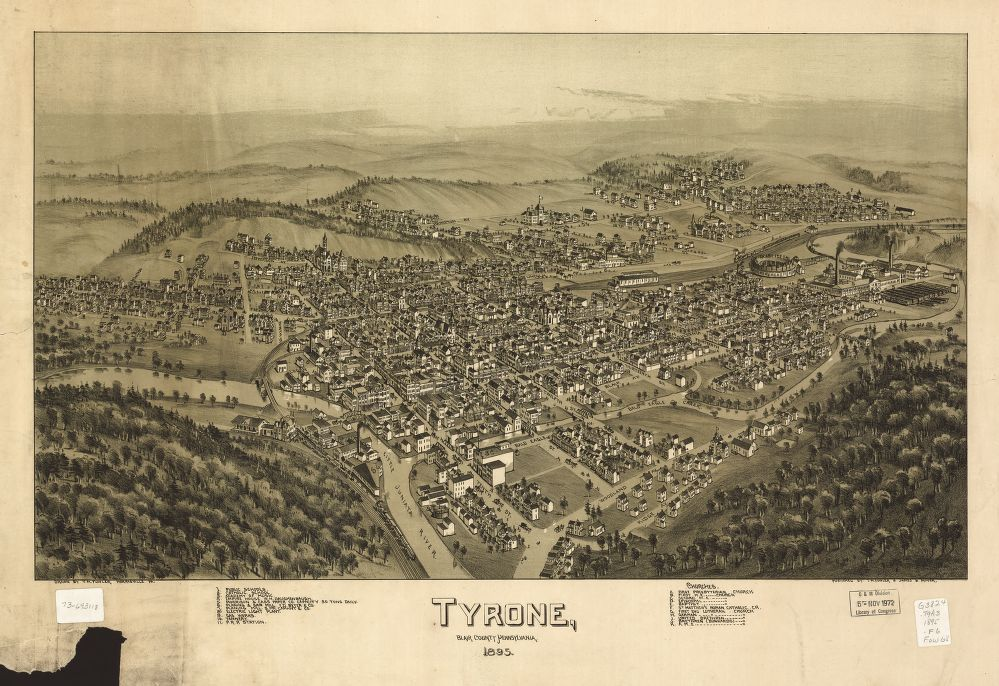 8 x 12 Reproduced Photo of Vintage Old Perspective Birds Eye View Map or Drawing of: Tyrone, Blair County, Pennsylvania 1895   Fowler, T. M. - Moyer, James - Fowler, T. M.  1895