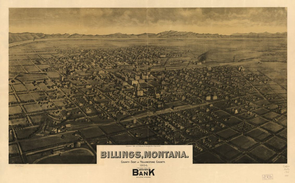 8 x 12 Reproduced Photo of Vintage Old Perspective Birds Eye View Map or Drawing of: Billings, Montana, county seat of Yellowstone County 1904. Wellge, H. (Henry) c1904