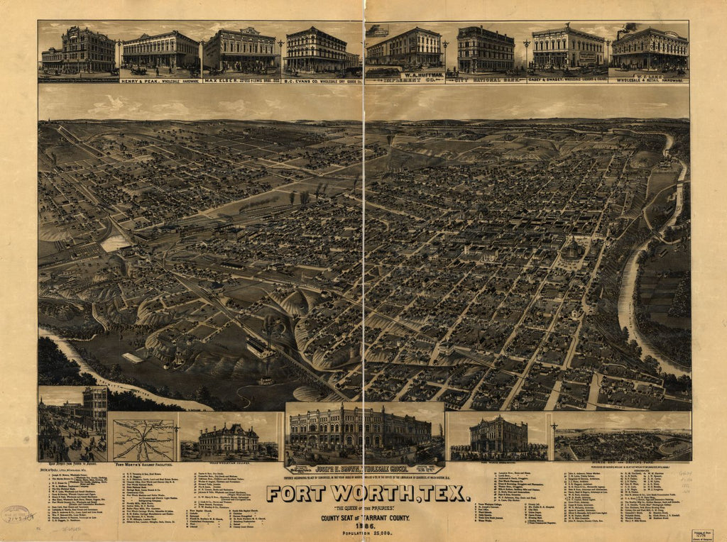 "8 x 12 Reproduced Photo of Vintage Old Perspective Birds Eye View Map or Drawing of: Fort Worth, Tex., ""The Queen of the Prairies,"" county seat of Tarrant County 1886. Wellge, H. (Henry) 1886"