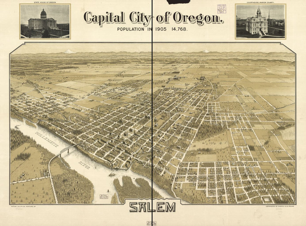 8 x 12 Reproduced Photo of Vintage Old Perspective Birds Eye View Map or Drawing of: Capital Oregon, Salem. Koppe, E. 1905