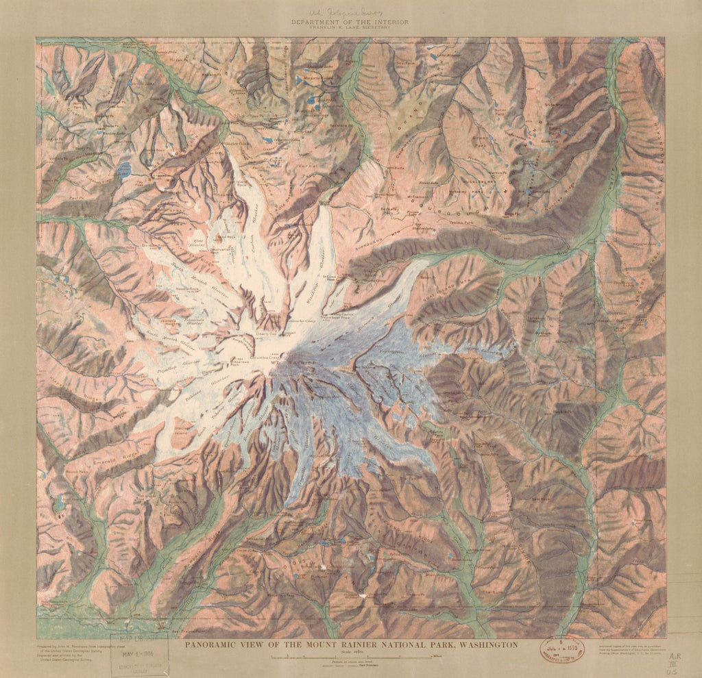 8 x 12 Reproduced Photo of Vintage Old Perspective Birds Eye View Map or Drawing of: Panoramic the Mount Rainier National Park, Washington Renshawe, John H., 1914?