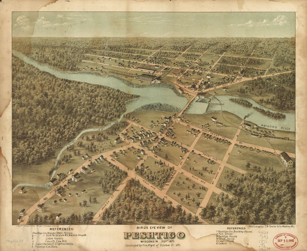 8 x 12 Reproduced Photo of Vintage Old Perspective Birds Eye View Map or Drawing of: Peshtigo, Wisconsin Sept. 1871. T.M. Fowler & Co. 1871