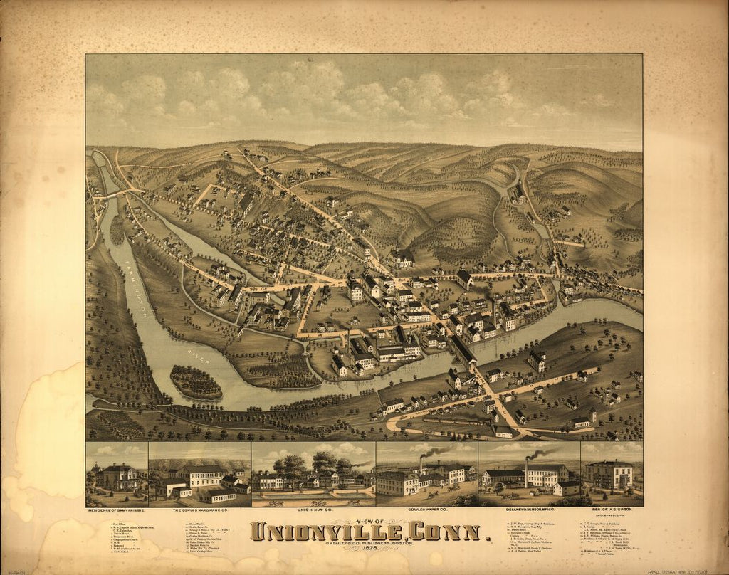 8 x 12 Reproduced Photo of Vintage Old Perspective Birds Eye View Map or Drawing of: Unionville, Conn.   O.H. Bailey & Co. - Beck & Pauli  1878