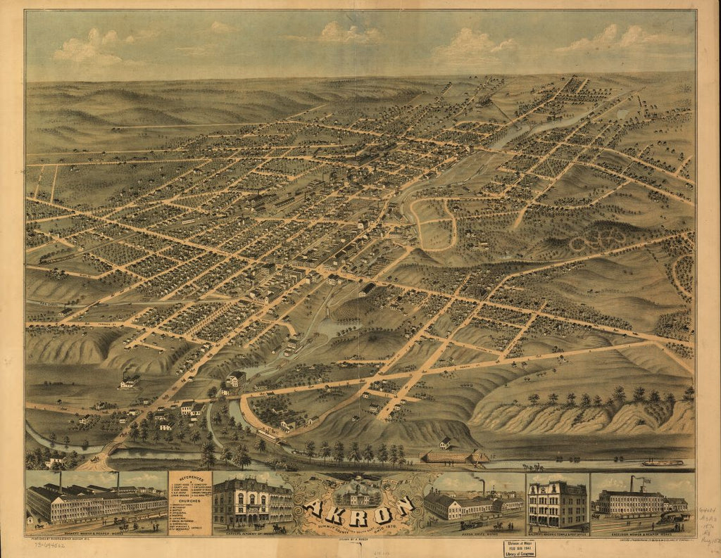 8 x 12 Reproduced Photo of Vintage Old Perspective Birds Eye View Map or Drawing of: Akron, Summit County, Ohio 1870. Ruger, A. 1870