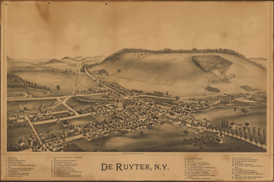 8 x 12 Reproduced Photo of Vintage Old Perspective Birds Eye View Map or Drawing of: De Ruyter, N.Y.   Burleigh Litho  1892