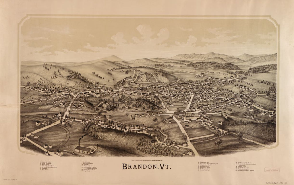 8 x 12 Reproduced Photo of Vintage Old Perspective Birds Eye View Map or Drawing of: Brandon, Vt.  Burleigh, L. R. (Lucien R.) - Burleigh, L. R.  1890