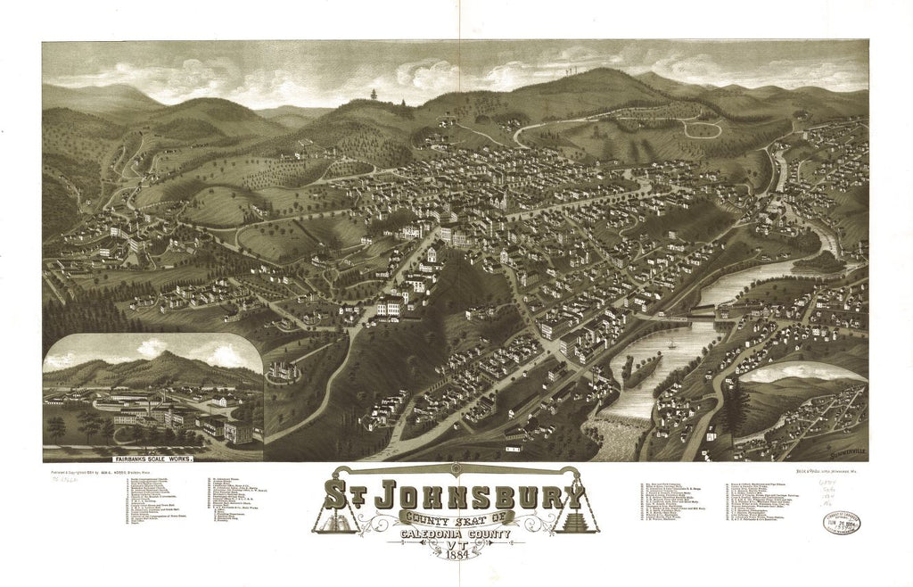 8 x 12 Reproduced Photo of Vintage Old Perspective Birds Eye View Map or Drawing of: St. Johnsbury, county seat of Caledonia County, Vt. 1884.  Norris, George E. - Beck & Pauli  1884