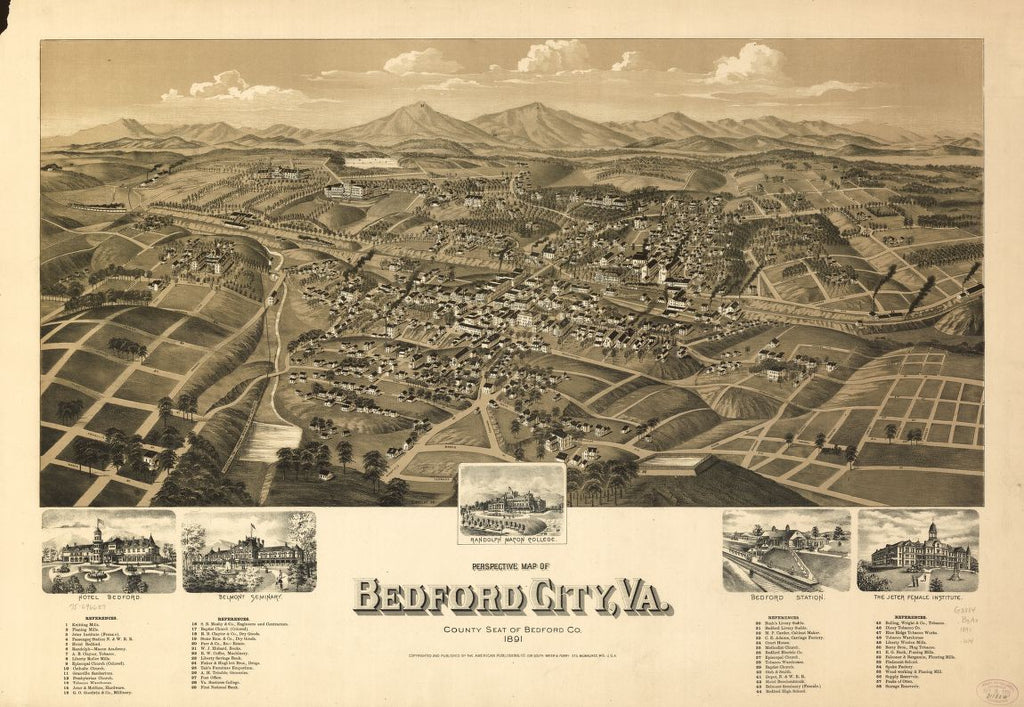 8 x 12 Reproduced Photo of Vintage Old Perspective Birds Eye View Map or Drawing of: Bedford City, Va., county seat of Bedford Co. 1891. Wellge, H. (Henry) 1891