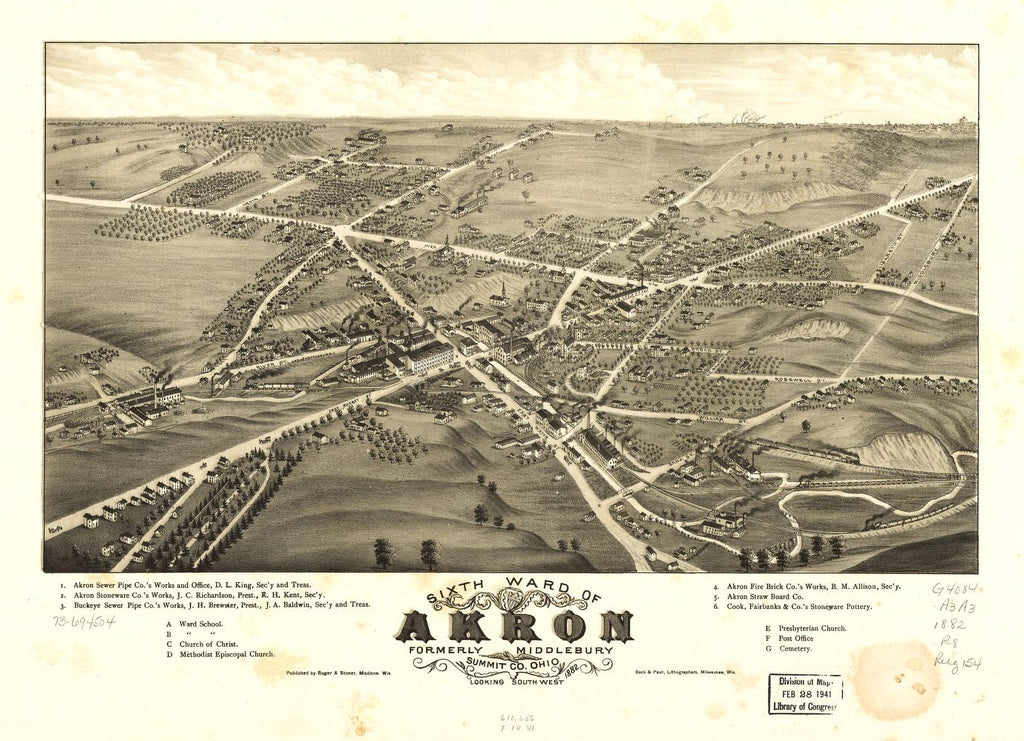 8 x 12 Reproduced Photo of Vintage Old Perspective Birds Eye View Map or Drawing of: Sixth ward of Akron, formerly Middlebury, Summit Co., Ohio 1882. Ruger, A. 1882