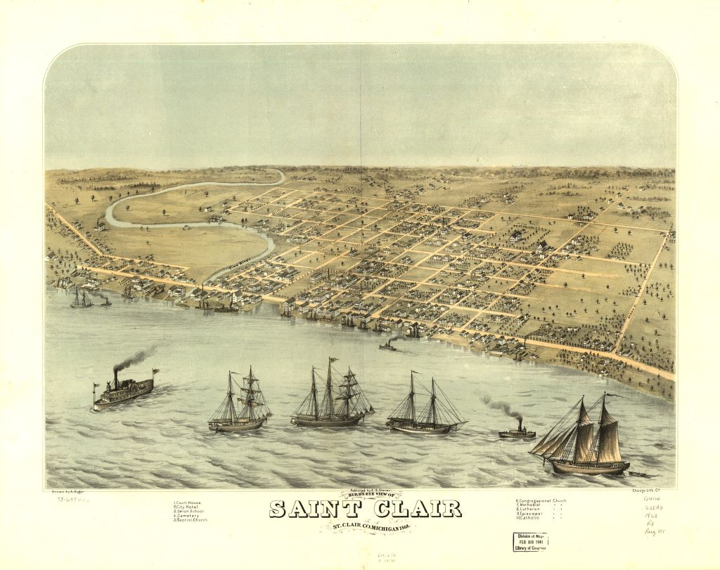 8 x 12 Reproduced Photo of Vintage Old Perspective Birds Eye View Map or Drawing of: Saint Clair, St. Clair Co., Michigan 1868. Ruger, A. 1868
