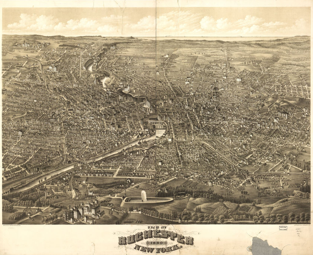 8 x 12 Reproduced Photo of Vintage Old Perspective Birds Eye View Map or Drawing of: Rochester, New York 1880. H.H. Rowley & Co. - Beck & Pauli 1880